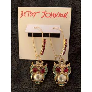 Betsey Johnson Owl Earrings NWT
